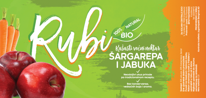 Rubi Natural Juice Label - Apple Carrot
