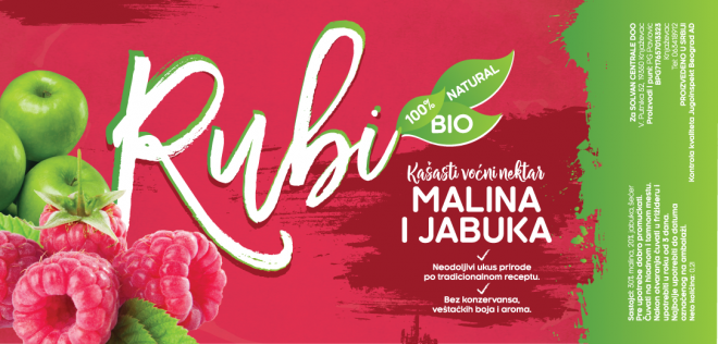Rubi Natural Juice Label - Raspberry Apple