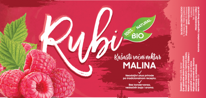 Rubi Natural Juice Label - Raspberry